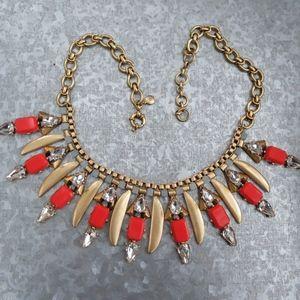 J. Crew Poppy Fringe Necklace - Red/Brass #a9253